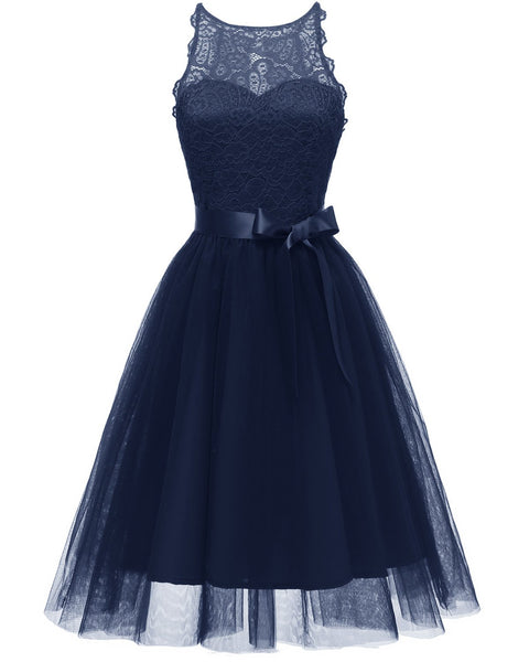 Openwork Bow Lace Princess Bridesmaid Retro Dress
