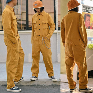 Fashion Casual Unisex Long Sleeve Loose Jumpsuit Overalls Coveralls Multi Pockets
