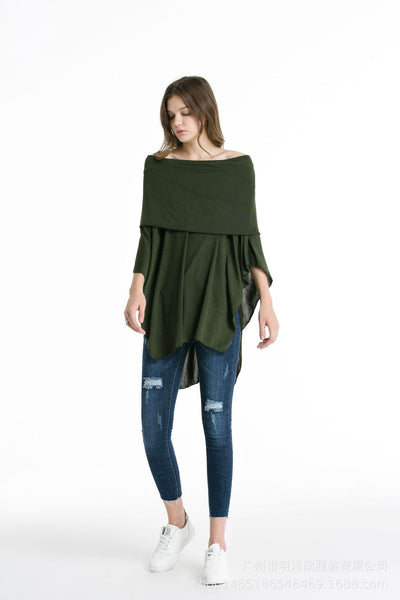 Joker Strapless Irregular Long Shirt One-shoulder Blouse