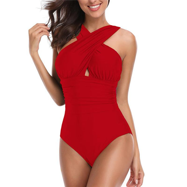 Sexy Cross Large Size One Piece Swimsuit