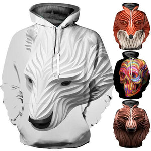 3D Paint Dripping Print Long Sleeve Hoodie