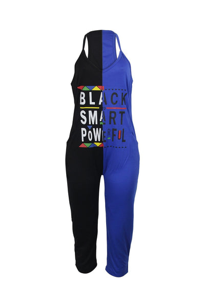Sleeveless Slim Letter Print  V-neck Pocket Jumpsuit