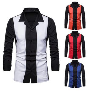 Colorblock Lapel Long Sleeve Shirt
