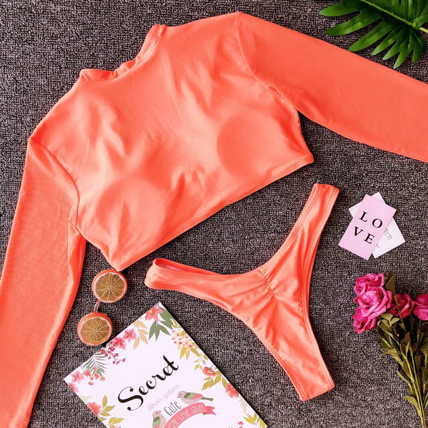 Sexy High Cut Long Sleeve Mesh Two Piece Bikini Set Women High Leg Thong Swimwear Swimsuit Bathing Suit