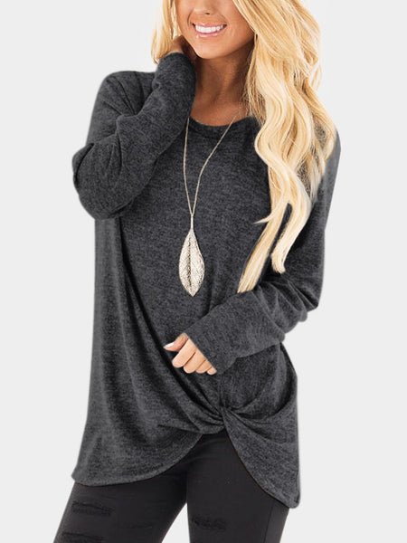 Solid Color Ling Sleeve Autumn New Twist Knot T-shirt