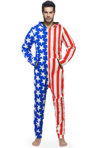Star Stripe Flag Print Jumpsuit Loose Hooded Union Suit
