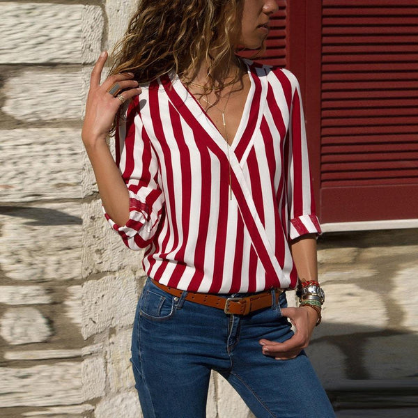 V-neck Striped Loose Crossover Shirt