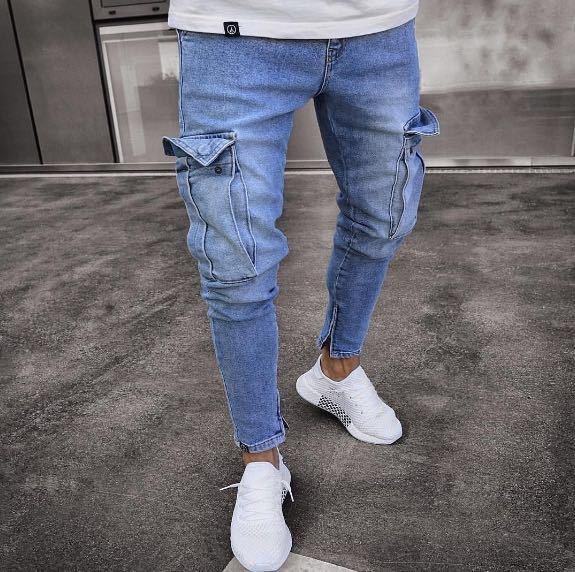 Solid Color Stretch Knee Hole Jogger Jeans