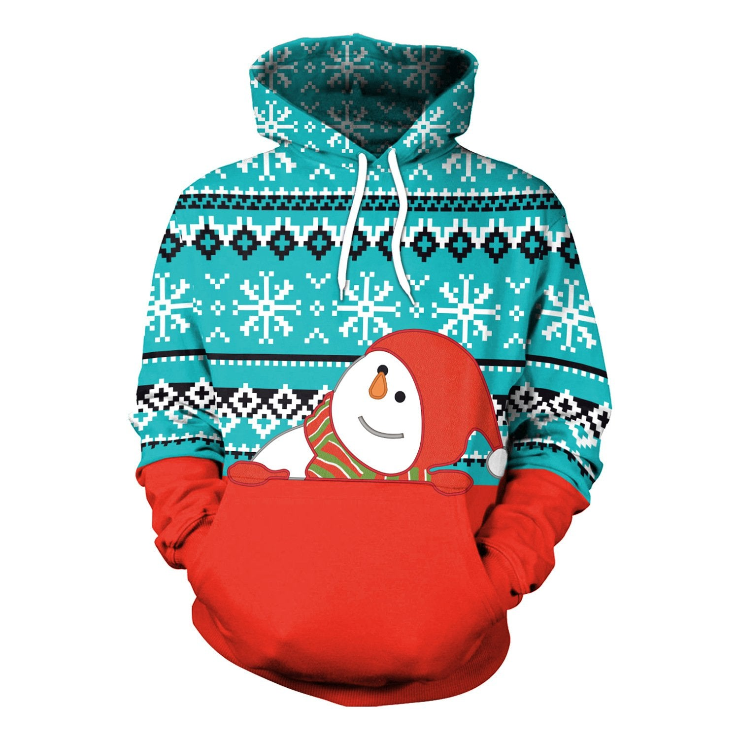 Women Christmas Snowman Print Ladies Hoodie