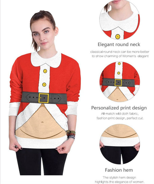 Long Sleeve Santa Print Xmas T-Shirts Top
