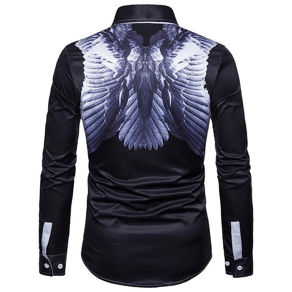 Men's Casual Business Angel Wings Long Sleeve Large Size Shirt