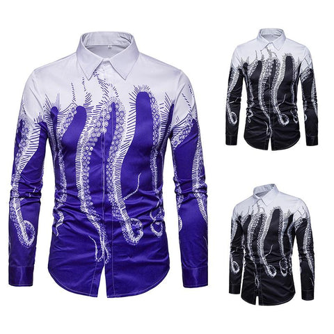 Octopus Digital Print Long Sleeve Shirt