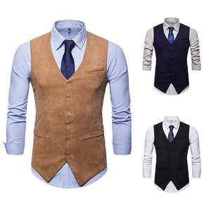 Men's Corduroy Single Breasted Vest Waistcoat