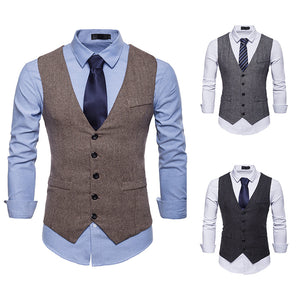 Men's Herringbone Single Breasted Vest Waistcoat