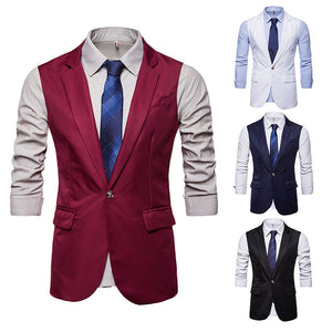 Men's Long One-Button Vest Waistcoat