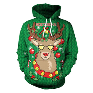 Christmas Reindeer Printed Loose Hooded Sweatshirt