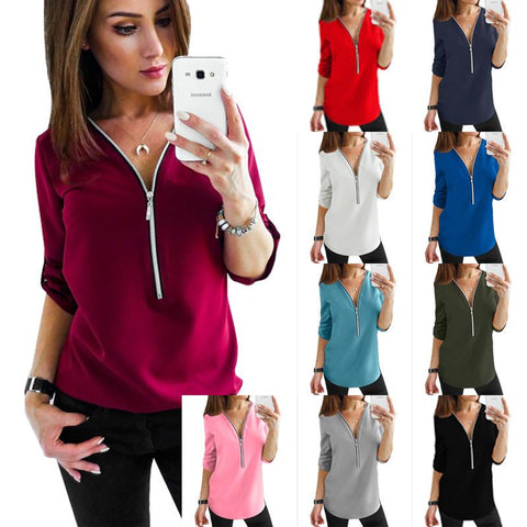 V-Neck Zipper Chest Top Loose Chiffon Shirt  S-5XL