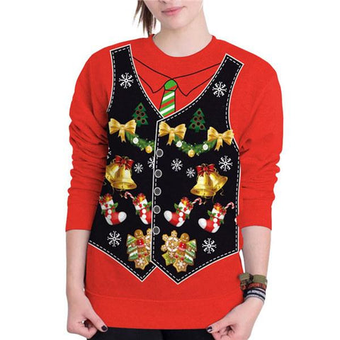 """Christmas"" Fake Vest 3D Digital Print Round Neck T-shirt Tops"