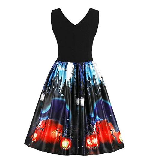 Halloween Vintage Printed Swing Dress