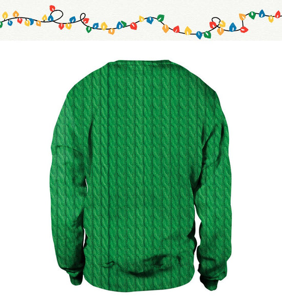 Christmas Elk Digital Print Hooded Round Collar Sweatshirt(Green)
