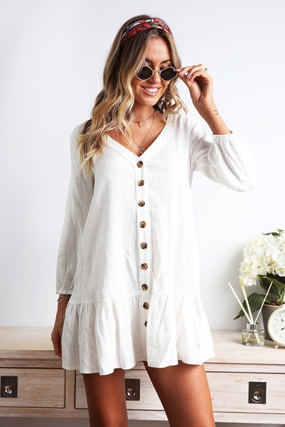 Long Sleeve Single-breasted V-neck Loose Dress
