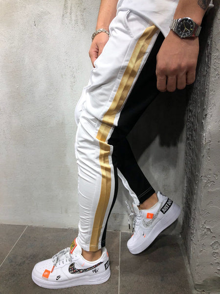 Color Block Hem Zipper Track Pants