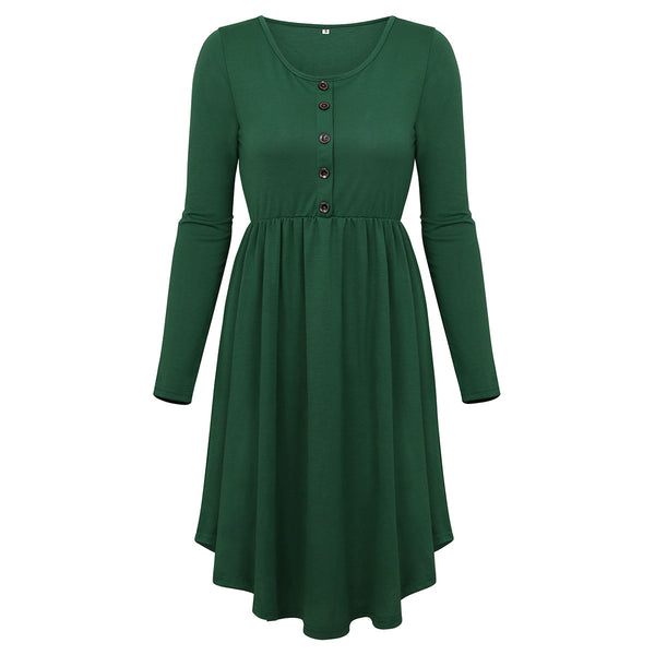Women Fashion Casual Long Sleeve Loose Dress Dress