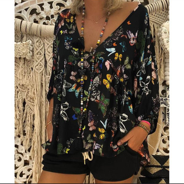 Women Print Floral Butterfly Deep V Neck T Shirts