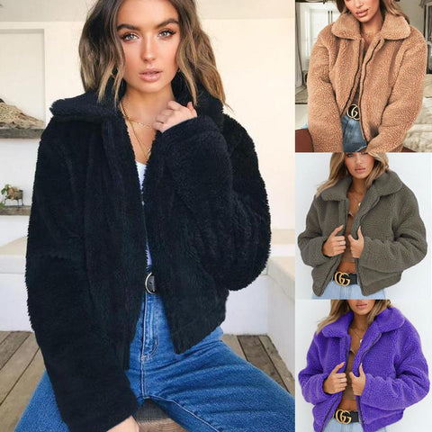 Fashion Pockets Faux Fur Coat