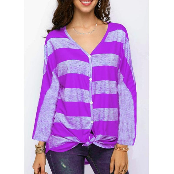 Women's V-neck Sexy Striped Long-sleeved Blouse