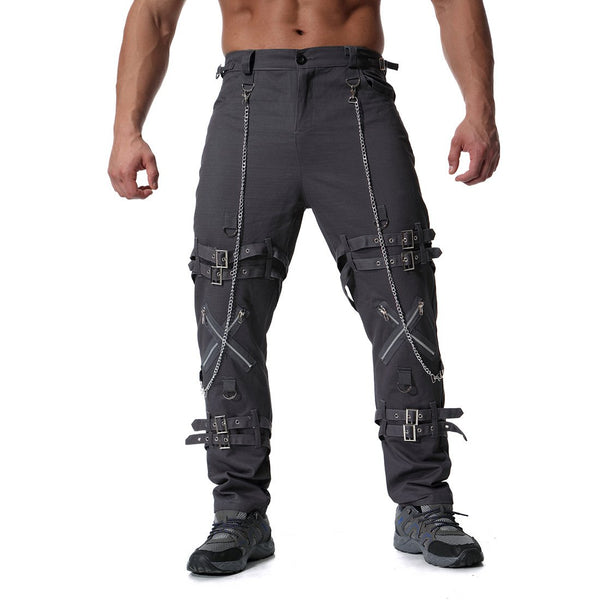 Men's Individual Metal Decoration Large Size Casual Pants