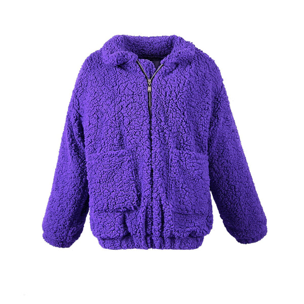 Plus Size Zip Up Fluffy Winter Coat (S-3XL)