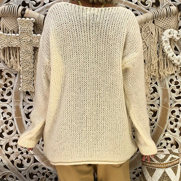 Fashion Casual Pure Color Sexy V-Neck Irregular Hem Long Sleeve Knitted Sweater