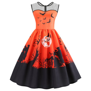 Halloween Mesh Panel Bat Print Sleeveless Women Dress