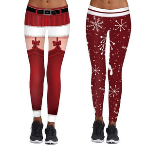 Christmas Snowflake Print Stretch Tights Casual Sweatpants