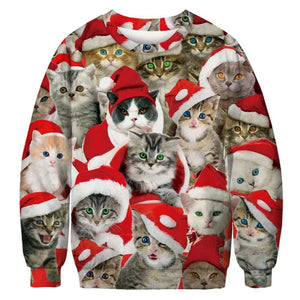 Print Hooded Long Sleeve Loose Christmas Top