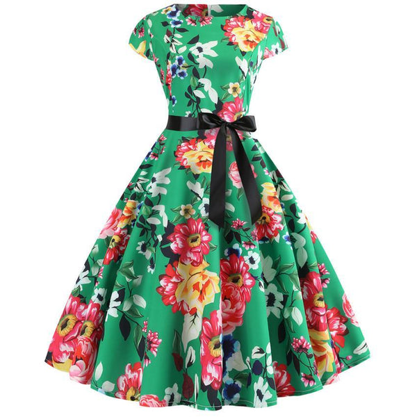 Thin 1950s Retro Vintage Cocktail Party Short Sleeve Swing Dress