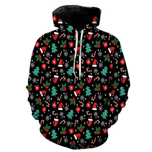 Christmas Printed Loose Hooded Xmas Sweatshirt