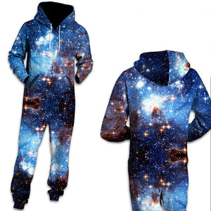 3D Funny Galaxy Space Print Men One Piece jumpsuit Zip Hooded Long Sleeve Pants Pajamas Onesies