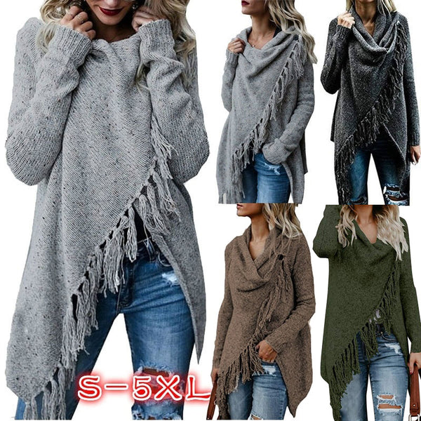 Women Stripes Poncho Tassels Slash Gradient Shawl Loose Cardigan Sweater