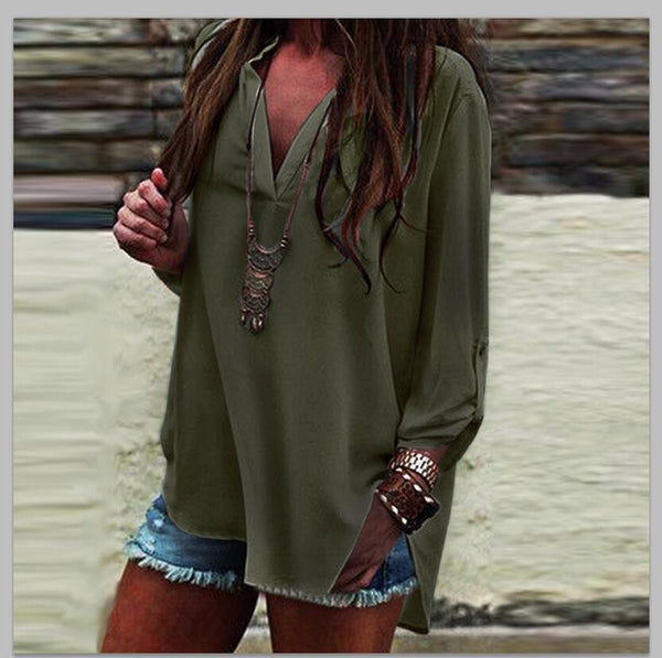 V Neck Loose Casual Chiffon Blouse