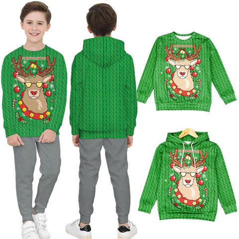 Christmas Cartoon 3D Printed Children's Long Sleeve Tops
