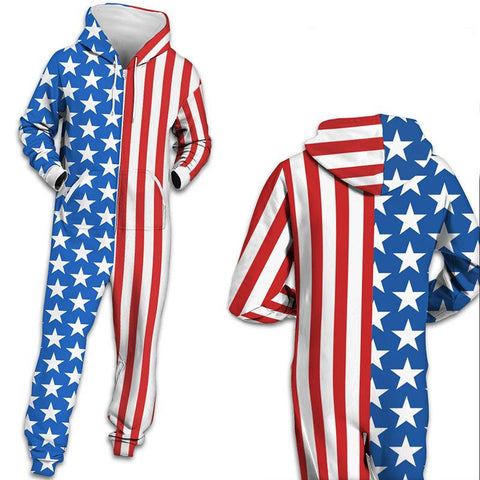 3D American Flag Print Funny One Piece jumpsuit Zip Hooded Long Sleeve Pants Pajamas Onesies For Men Women