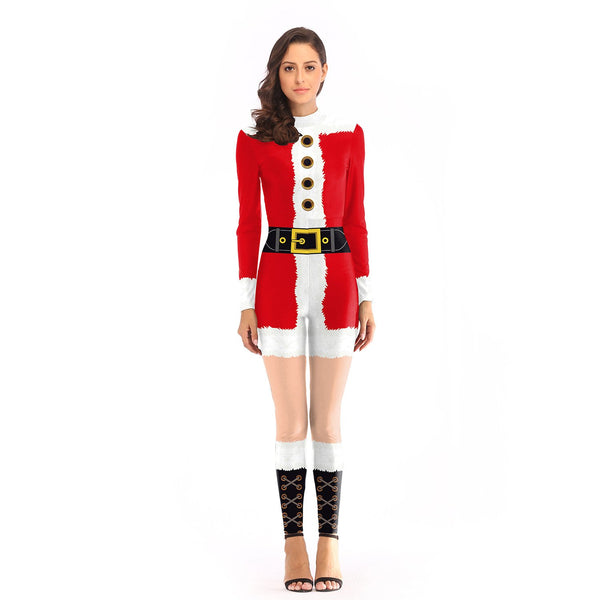 Santa Claus Costume Women's Adult Skinny Jumpsuit