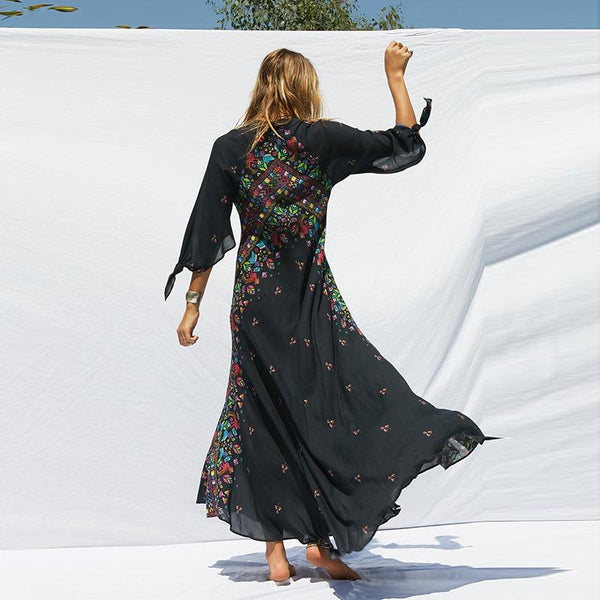 Fashion Bohemian Floral Deep V Neck Half Sleeve Maxi Dress Party Beach Boho Long Dress