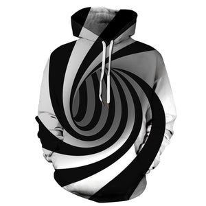 Swirl Print Pouch Pocket Pullover Hoodie