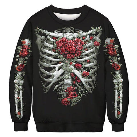 Halloween Skull Digital Print Sweatshirts Plus Size Long Sleeve Shirt
