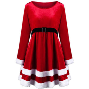 Christmas Velvet Long Sleeve Dress