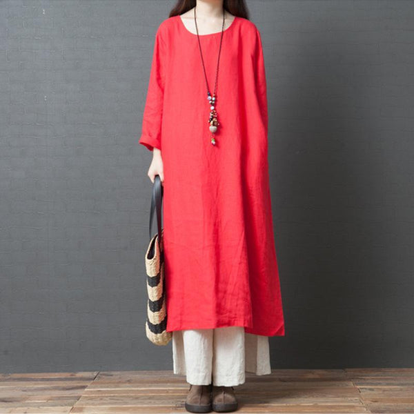 Large Size Loose Solid Color Cotton and Linen Dress