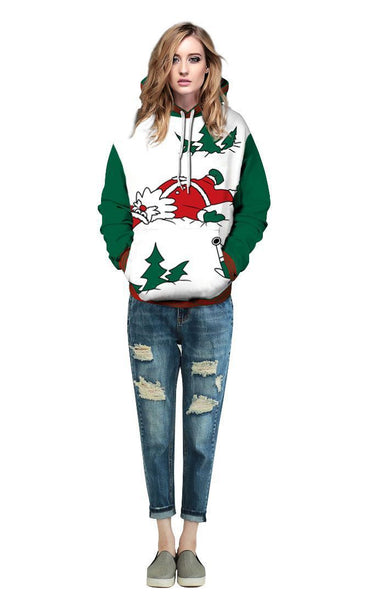 Christmas Santa Claus Printed Hooded Xmas Sweatshirt